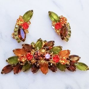 Vintage Juliana Brooch And Earring Set